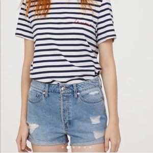 H&M Conscious Distressed Button Fly Denim Shorts
